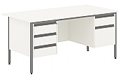 Nova White Double Pedestal Desks