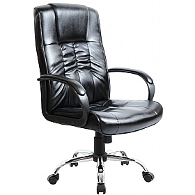 Turin Chrome Leather Faced Manager Chair £75 -