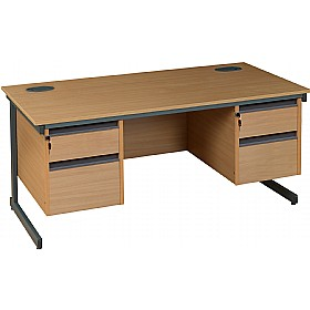 NEXT DAY Nova Plus Rectangular Cantilever Desk With Double Fixed Pedestals