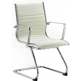 Premio Ivory Leather Faced Cantilever Chair £209 -