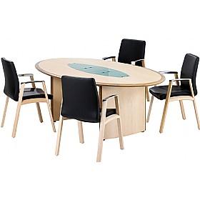 Maple Veneer Oval Boardroom Table With Natural Walnut Aero Edge