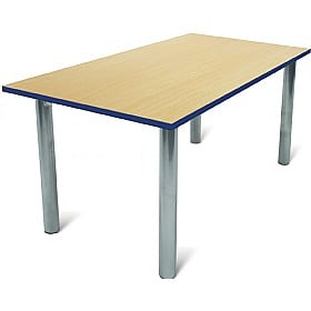 Scholar Heavy Duty Rectangular Cylinder Legged Tables With Silver Frame £0 -
