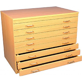 8 Drawer Beech A1 Plan Storage Chest £0 -