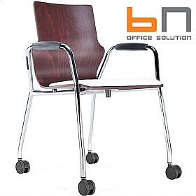 BN Mobile Leather Padded Wooden Conversa Chair £149 -