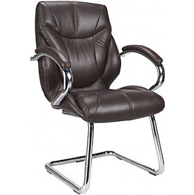 Geneva Brown Leather Faced Visitor Chair £247 -