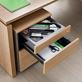 BN SQart Managerial Veneer 4 Drawer Desk High Pedestals With Pen Tray