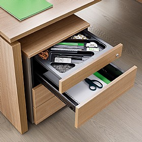BN SQart Managerial Veneer 2 Drawer Desk High Pedestals With Pen Tray