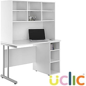 NEXT DAY Create Reflections Open Pedestal Desk With Open Storage
