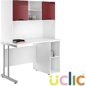 NEXT DAY Create Reflections Open Pedestal Desk With Closed Storage