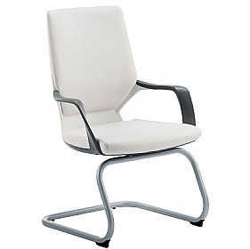 Profi Leather Faced Cantilever Office Chair White £201 -