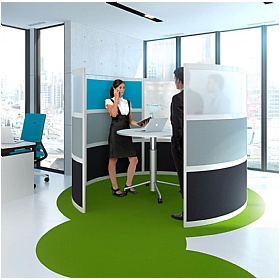 Elite Huddle Pod Curved Screen With Acrylic Middle Panel