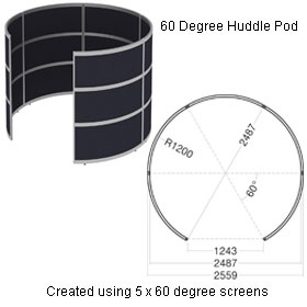 Elite Huddle Pod Curved Screen With Two Fabric Panels