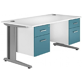 NEXT DAY Kaleidoscope Cantilever Deluxe Double Fixed Pedestal Desks £431 -