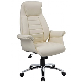 Jersey Cream Leather Faced Office Chairs £125 -