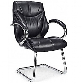Geneva Black Leather Faced Visitor Chair