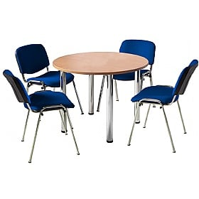 NEXT DAY Unite II Tubular Leg Bundle Deal - Round Meeting Table With 4 Chairs £184 -