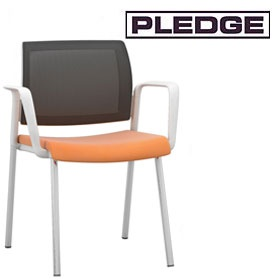 Pledge Kind Mesh Back White 4 Leg Conference Chair £142 -