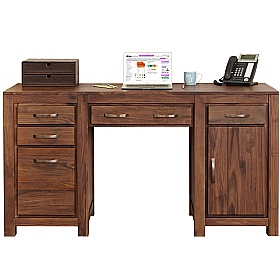 Fernhurst Solid Walnut Twin Pedestal Computer Desk £732 -