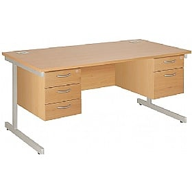 NEXT DAY Commerce II Rectangular Desk With Double Fixed Pedestals