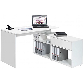 Falco Icy White Computer Desk With Sideboard £148 -