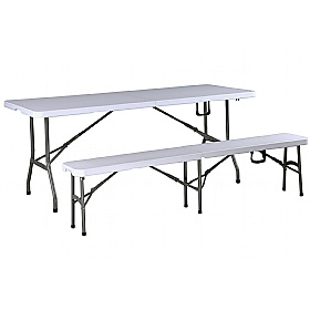 Atlantic Fold-in-Half Poly Table and Bench Bundle Deal