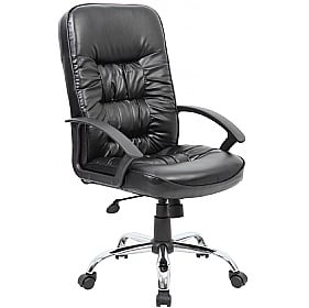 Cadiz Chrome Leather Faced Manager Chair £99 -