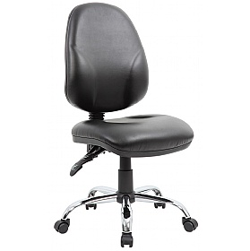Comfort Ergo 2-Lever Leather Chrome Operator Chairs £78 -