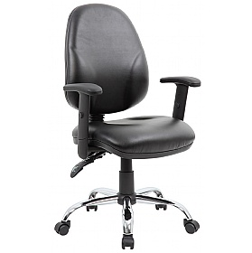 Comfort Ergo 2-Lever Leather Chrome Operator Chairs