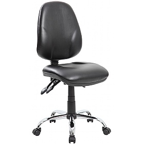 Comfort Ergo 3-Lever Leather Chrome Operator Chairs £80 -