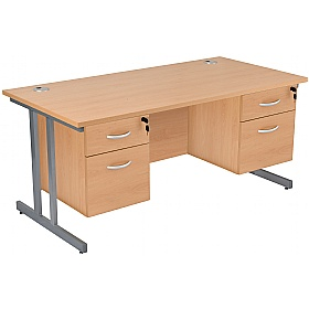 NEXT DAY Karbon K3 Rectangular Deluxe Cantilever Desk With Double Fixed Pedestals