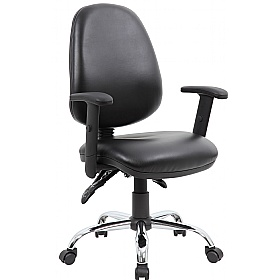 Comfort 3-Lever Leather Chrome Operator Chairs £79 -