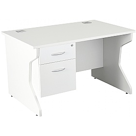 NEXT DAY Karbon K4 Rectangular Panel End Desk With Single Fixed Pedestal