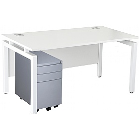 NEXT DAY Karbon K4 Rectangular Bench Desk With 3 Drawer Slimline Mobile Metal Pedestal