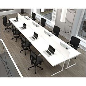 NEXT DAY Vogue White Rectangular Cantilever Desks With Desk High Pedestal