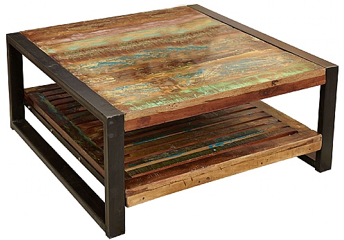 Accrington Reclaimed Wood Square Coffee Table Accrington