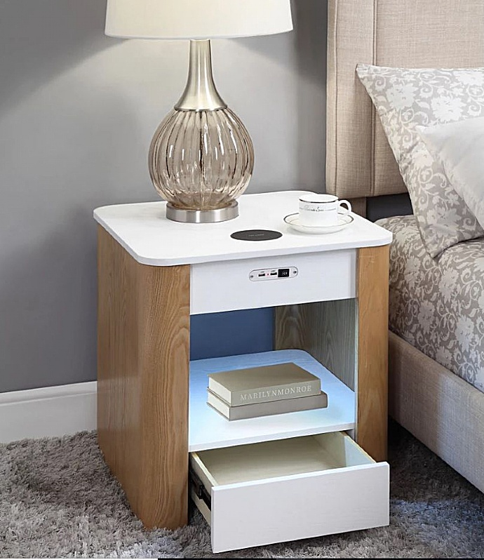 Pacific Side Table With Smart Charging Bluetooth Speakers