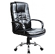 Turin Chrome Leather Faced Manager Chair