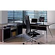 Sapphire Executive Black Glass Desk With Credenza