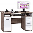 Hampstead Computer Desk Oak/Gloss White