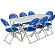 6ft Folding Rectangular Table with 8x Fan Back Folding Chairs