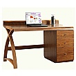 Spectrum Deluxe Real Wood Veneer Pedestal Desk