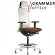 Grammer Office GLOBEline Ring Base High Back Mesh & Leather Reception Chair With Headrest