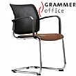 Grammer Office Passu Mesh & Leather Upholstered Cantilever Side Chair
