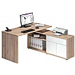 Naples Corner Computer Desk Beech/White Gloss