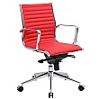 Abbey Medium Back Red Leather Office Chair