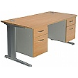 Aura Double Fixed Pedestal Desks