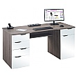 Calgary Computer Desk Truffle Oak/White Gloss