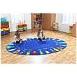 Rainbow Oval Pencils Alphabet Carpet