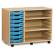 8 Tray Shallow Storage Unit With 2 Adjustable Shelves