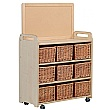 Mobile Storage Unit With Display Divider Baskets